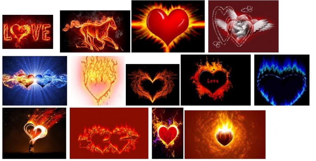 graffitis corazón fuego